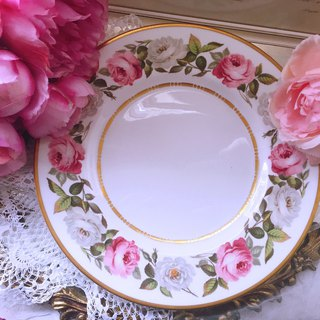 British Woolester Royal Worcester 1960 hand-painted rose bone china cake plate inventory