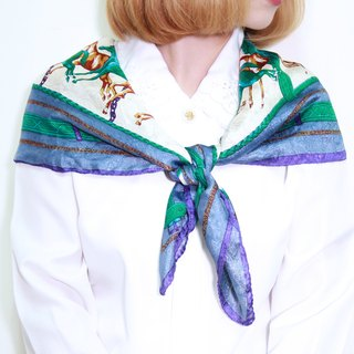 Back to Green :: Classical bright silk scarf chains intertwined horses vintage scarf (SC-05)