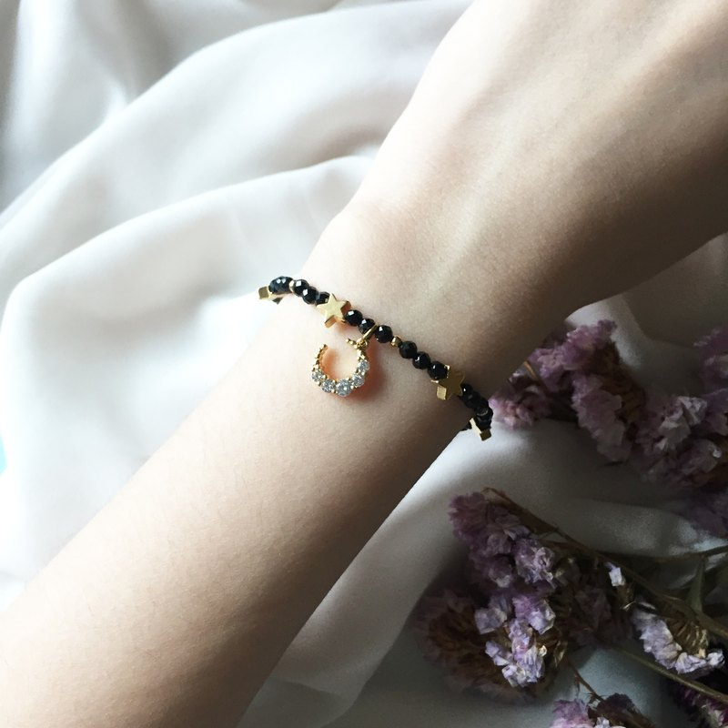 Stars at Night。Black spinel Natural Stone Bracelet