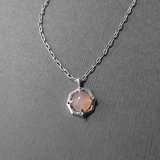OCTAGON Powder Chalcedony Silver Pendant