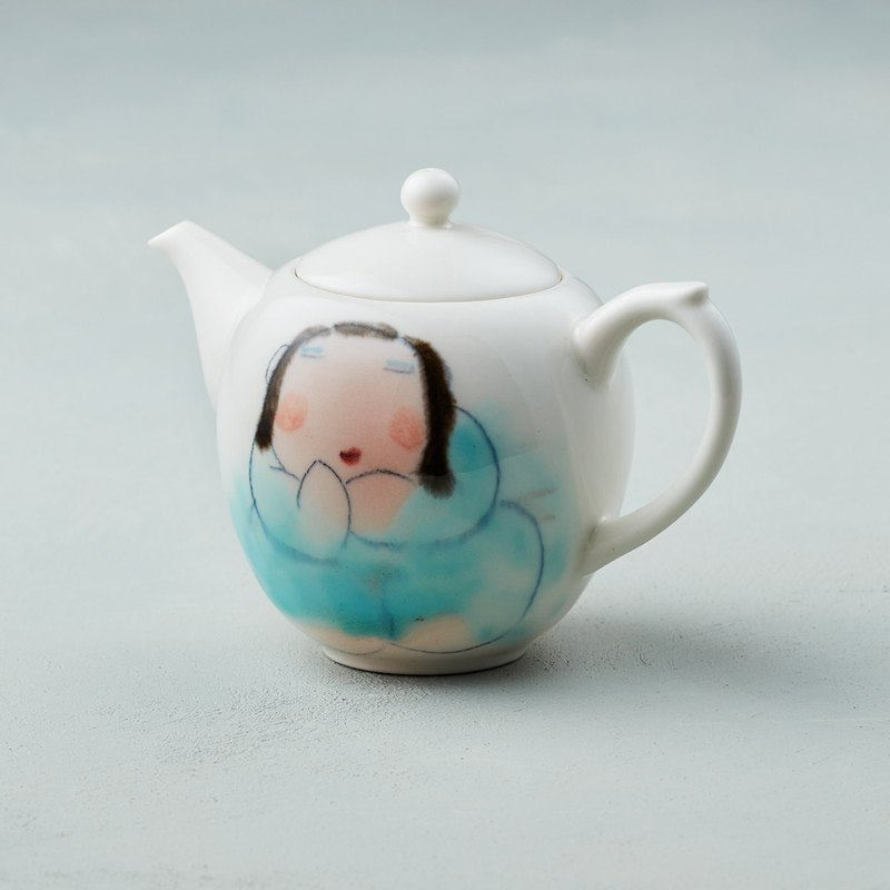 Wu Zhongzong - Fat Lady Series - Round Pot - Mulanbai (Tulle Blue)