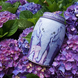 [2018 New] Purple Love Mummy Elephant Tea Jar (Including Earl Grey/40 Heat Sealed Tea Bags)