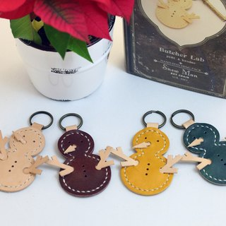 Christmas hand-stitched leather bag - Christmas snowman key chain
