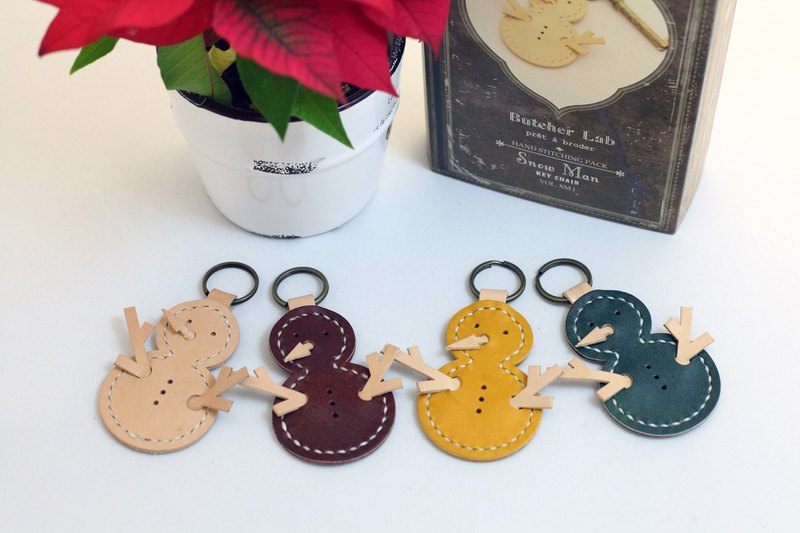 Christmas Hand Sewn Leather Kit - Christmas Snowman Keyring