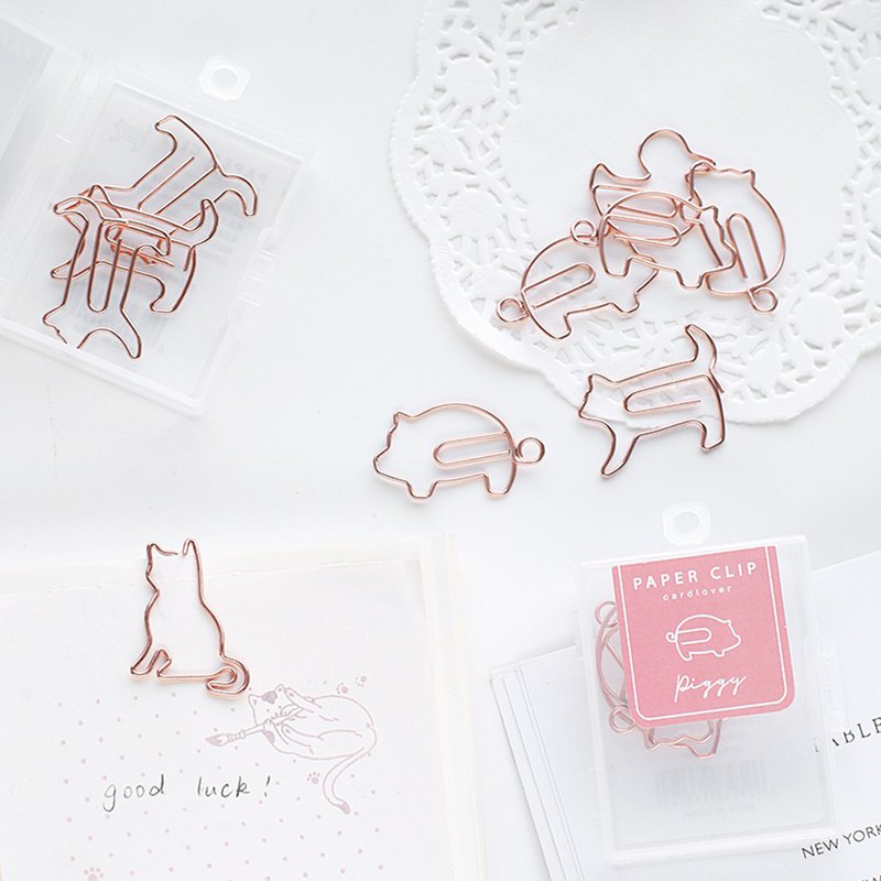 Letter lover paper clip cute animal series cute pet paper clip metal bookmark mark reading student supplies