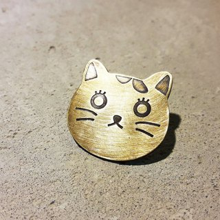Cat control can be customized brass brooch