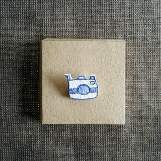 Camera Blue and White ceramic Brooch
