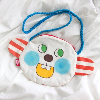 Original hand-painted oblique backpack with big ears