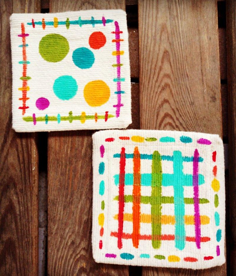【純手繪】杯墊 | 帆布 | 格子點點。兩款一組