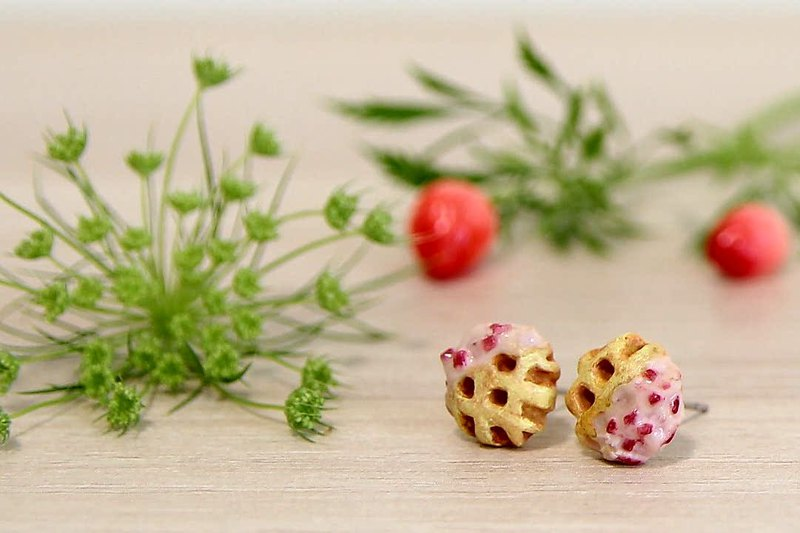 Mini strawberry Belgian Liege waffle earrings