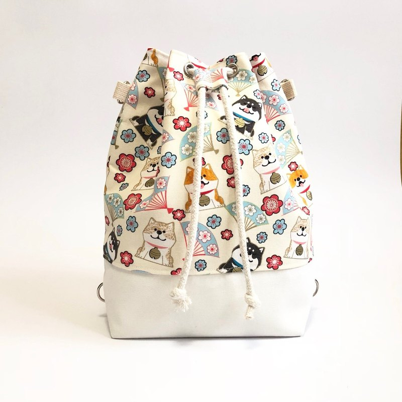 Chai Chai White Fan 3way Bundle Bucket Bag (Hand / Shoulder / Back)
