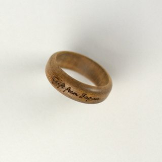 Engraved wood ring ring of wood