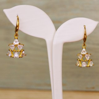 BrassTrianglel  Gemstone Drop Earrings