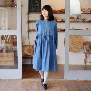 Ethical Hemp Stand collar Dress Japanese Indigo Dyeing