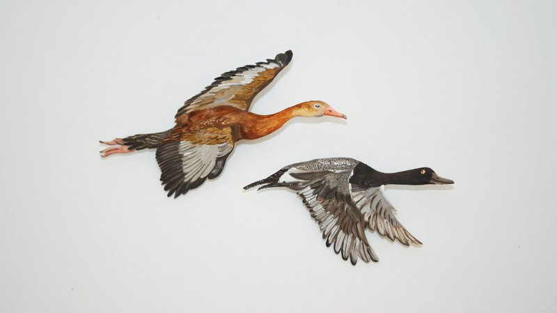 Wild duck / hand-painted brooch / a set of two
