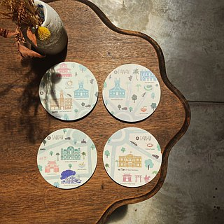 Tainan circular series of water-absorbing ceramic three-dimensional coaster