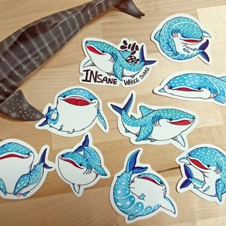 Tofu shark (whale shark) little spot whale shark sticker set 9 into (sticker / whale shark / shark)