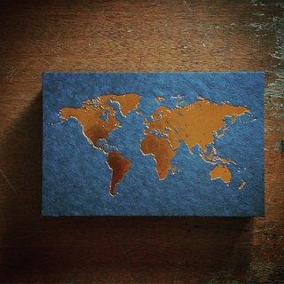World Map Postcard / Black Card Stamping