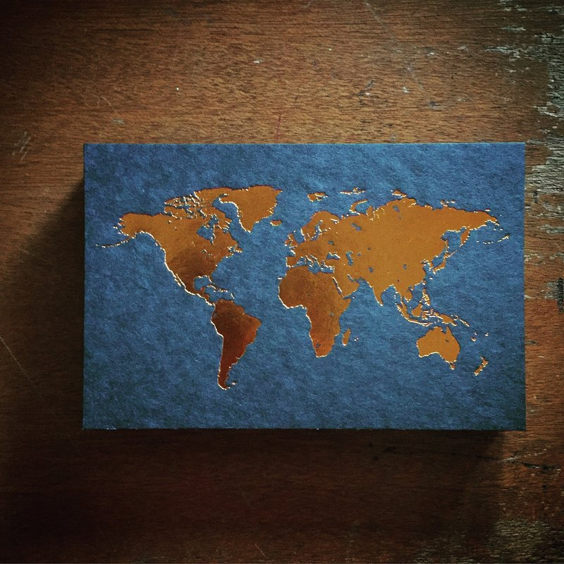 Postcards / World Map / Black Card Bronzing