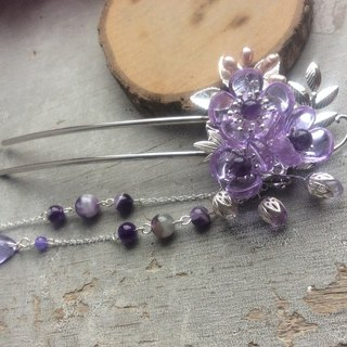 喵Handmade Chinese Plum Glass Hair Bun (Crystal Violet/Silver)