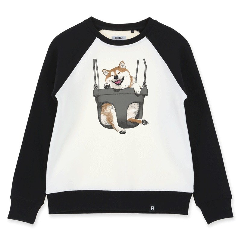 AMO Original cotton adult Sweater /AKE/ The Shiba on the black swing