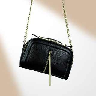 [Hong Kong, Macao and Taiwan] MBS black gold tassel small square bag double strap leather chain Messenger bag shoulder bag