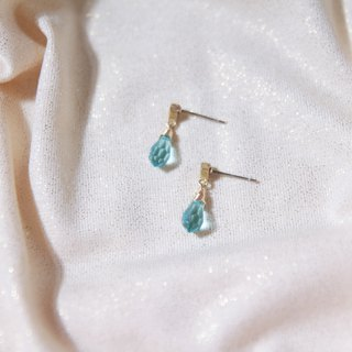 Antique Shop Series Aqua Blue Refractive Swarovski Face Drops Single Diamond Zircon Earrings