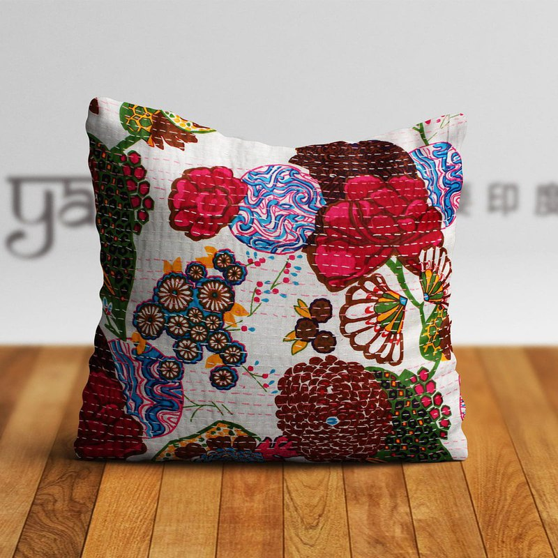 Indian Hand-stitched Cotton Pillow Case-Canvas on White