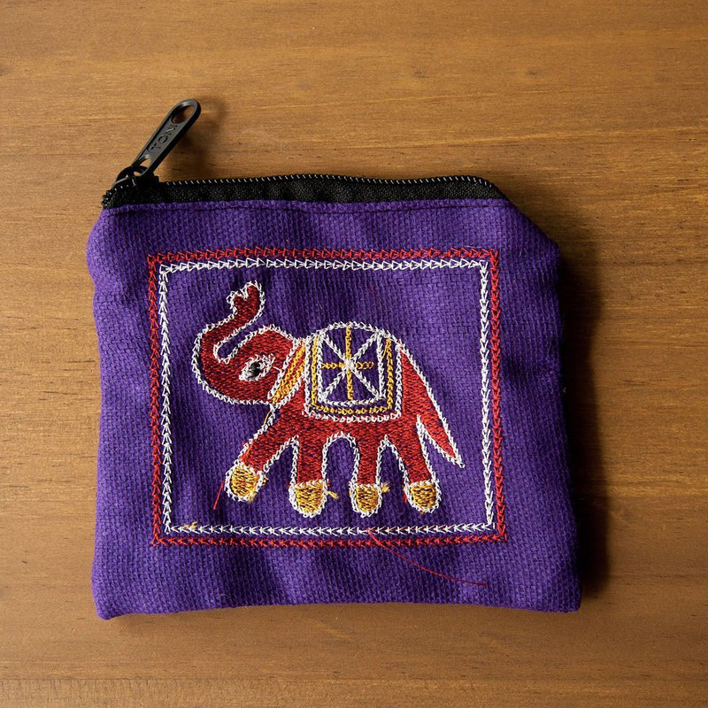 Playful Baby Elephant Embroidered Coin Purse-Brilliant Purple