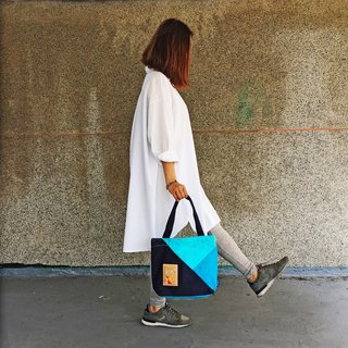 Mixed colors Tote (Blue)