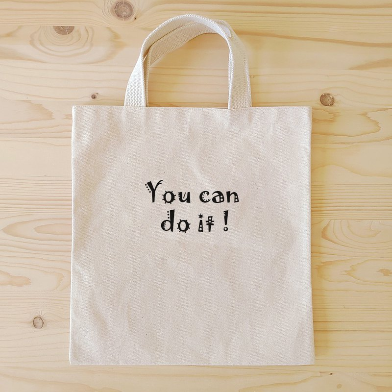 Positive energy flat tote bag / book bag _you can do it