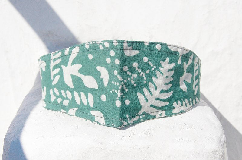 Handmade hair band / pop with high spirit / printing hair band / elastic hair band - forest green leaf