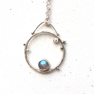 MIH Metalworking Jewelry | Small universe sterling silver spectrum stone necklace