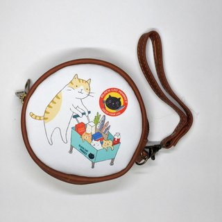 Three cat shop ~ cat catwalk supermarket double circle round wallet