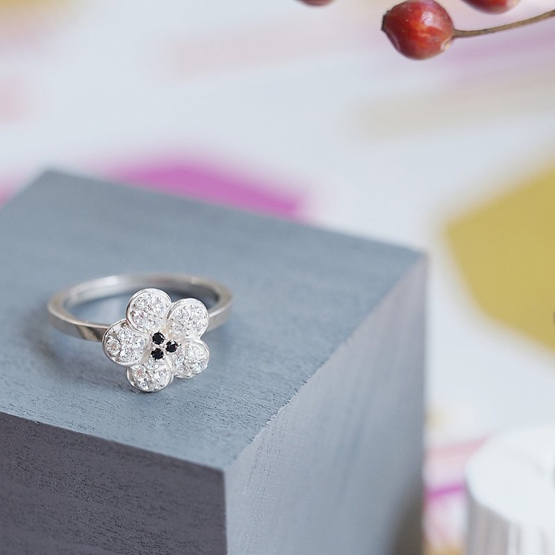 Cherry Blossoms White cherry Ring Silver 925