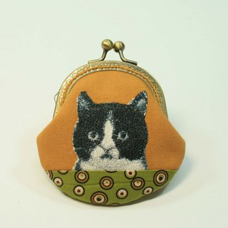 Embroidery 8.5cm gold coin purse 29- black and white cat