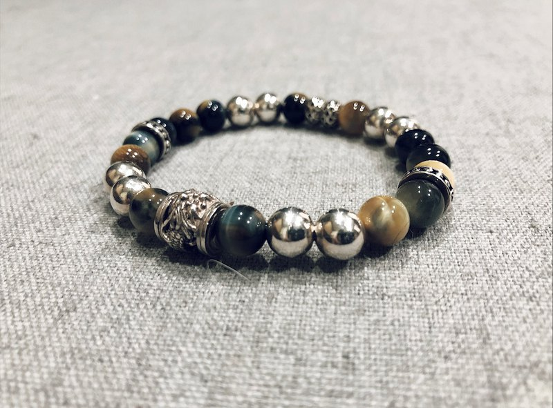 925 sterling silver dragon lining with tiger eye ore bracelet