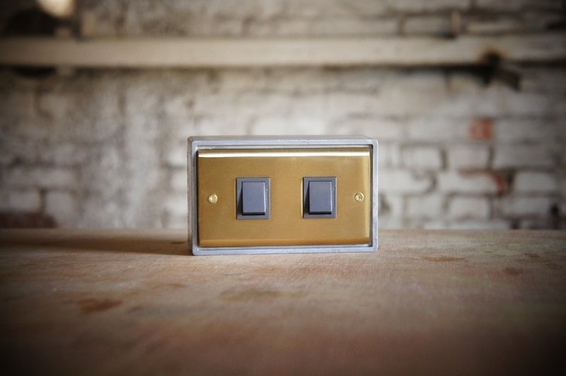 Two open / brass series / switch / three way switch / black gray (without metal box)