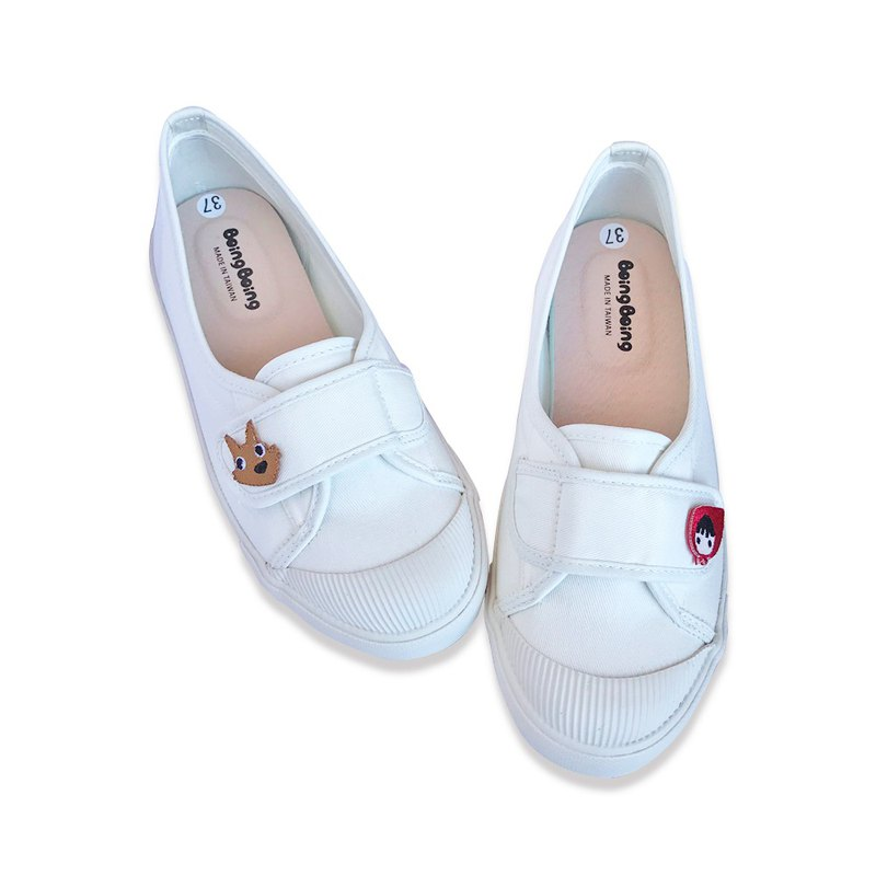 Shallow mouth Wen Qingfeng flat women's shoes - Little Red Riding Hood and Big Wolf - Simple white