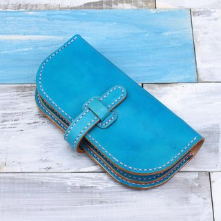 [Cut line] Italian vegetable tanned leather handmade leather ladies wallet buckle long clip folder 001 hand turquoise green