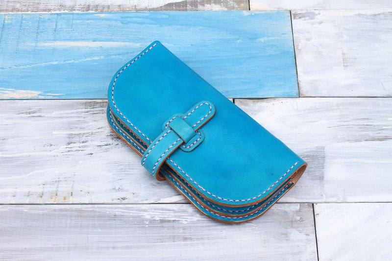 [Tangent Pie] Italian vegetable tanned leather handmade leather ladies wallet buckle long clip hand-dyed turquoise green