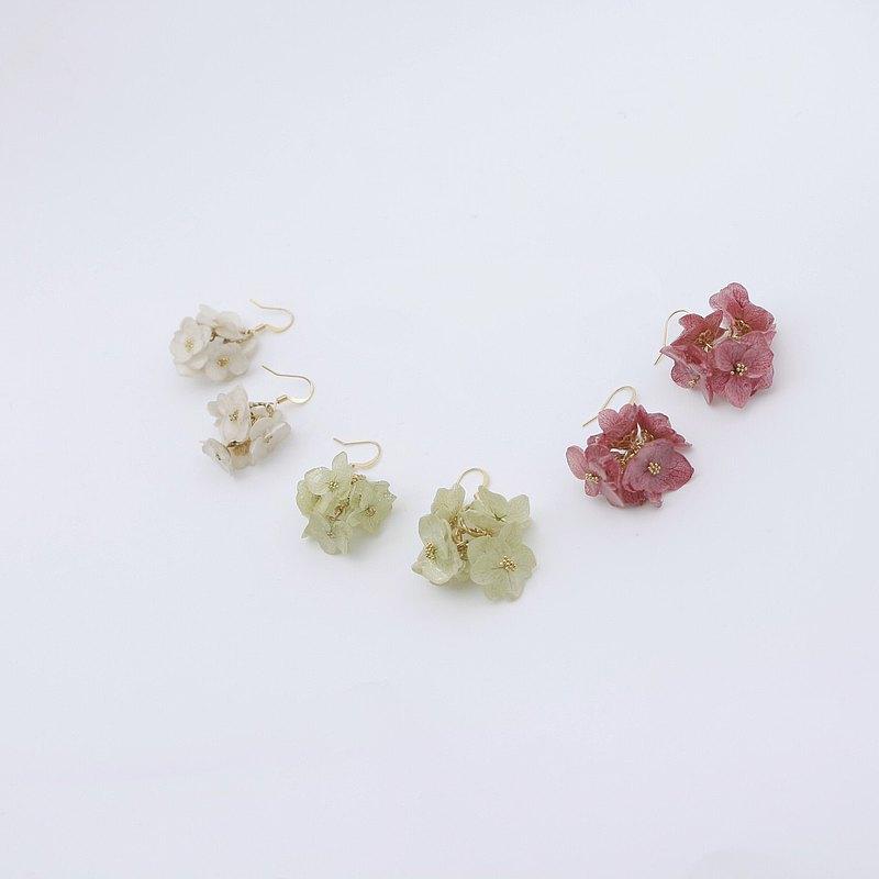 永生花飾品 日本樹脂 14k包金耳飾_迎接幸福