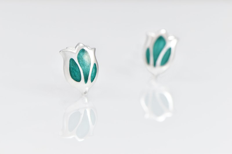 Clearance-Tulip Enamel 925 Silver Earrings-Thin Green Bamboo (Single)