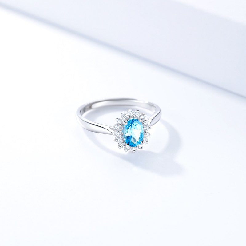 Blue Topaz, White Gold Plated 925 Sterling Silver Adjustable Ring