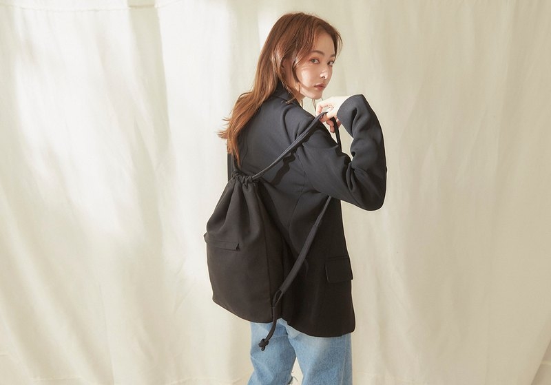 Rina canvas back pack + 3 inner pocket [black]