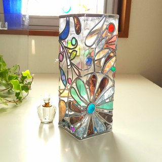 Square glass vase  Flower Arabesque