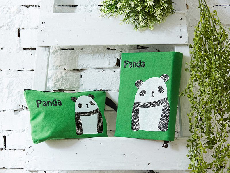 Adorkable series fabric book cover&makeup bag-Panda