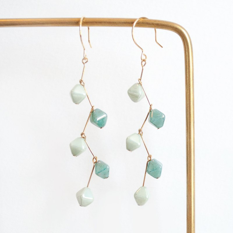 TeaTime [Imaginary afternoon tea - light green twig ear clip ear hooks