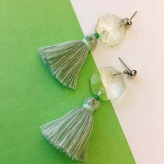 Transparent x pink green tassel earrings