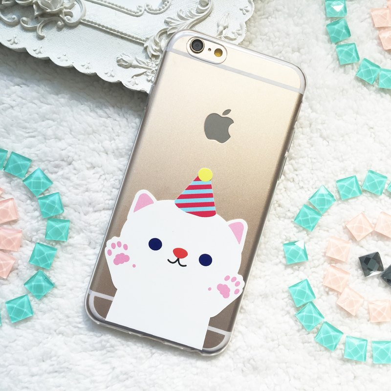 Party Cat Kitty Clear TPU Silicone Phone Case Cover  for iphone X 8 8+ 7 7+ 6 6s